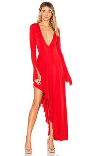 Платье с длинными рукавами и глубоким v-образным вырезом dion - MAJORELLE