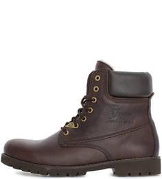 Коричневые кожаные ботинки на шнуровке Panama Jack