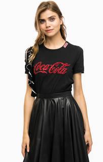 Хлопковая футболка с декоративной отделкой Pinko