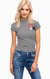 Трикотажная футболка в полоску с нашивками Mavi
