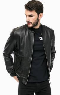 Черная кожаная куртка Calvin Klein Jeans