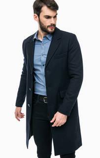 Синее классическое пальто с содержанием шерсти Calvin Klein Jeans