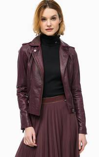 Бордовая кожаная куртка с косой молнией Rich&Royal