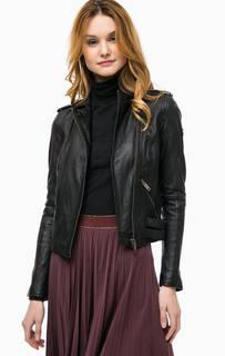Черная кожаная куртка с косой молнией Rich&Royal