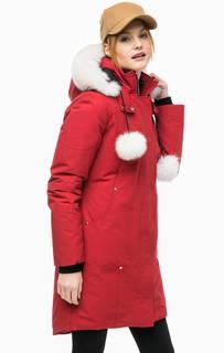 Красный пуховик со съемным капюшоном Moose Knuckles
