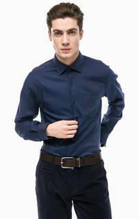 Синяя рубашка с карманом Pierre Cardin