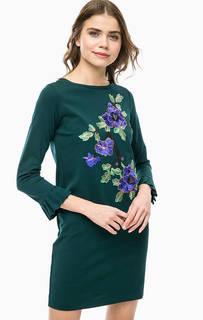 Зеленое платье с нашивками Rich&Royal