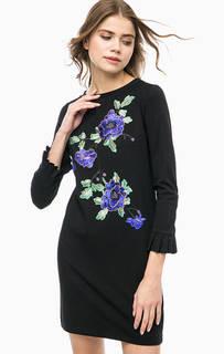 Черное платье с нашивками Rich&Royal