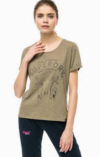 Хлопковая футболка цвета хаки Superdry