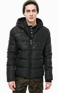 Короткая черная куртка с капюшоном Superdry