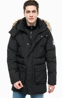 Черная утепленная куртка с капюшоном Superdry