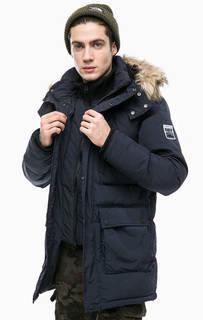 Синяя утепленная куртка с капюшоном Superdry