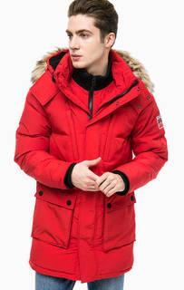 Красная утепленная куртка с капюшоном Superdry
