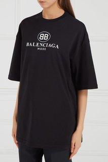 Черная футболка с принтом Balenciaga