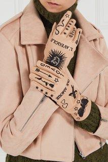 Кожаные перчатки с вышивкой Gucci