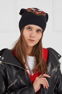 Черная шапка с тигром Gucci