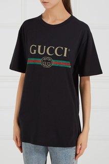 Футболка с логотипом по центру Gucci