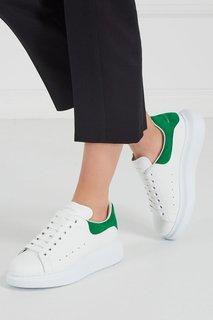 Кожаные кроссовки с зеленой деталью Alexander Mc Queen