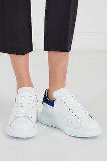 Кожаные кроссовки с синей вставкой Alexander Mc Queen