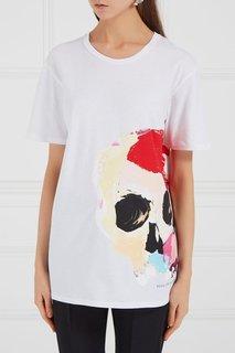 Белая футболка с черепом Alexander Mc Queen