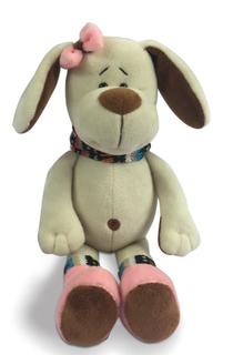 Мягкая игрушка ABtoys «Собака с розовым бантом» 17 см