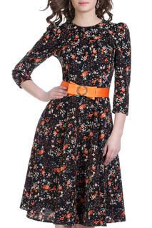 Приталенное платье с поясом и клешеной юбкой Olivegrey