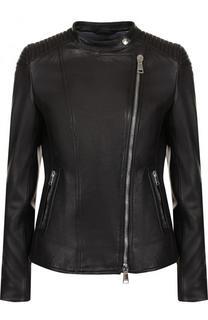 Кожаная куртка с косой молнией и воротником-стойкой Windsor