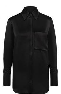 Однотонная шелковая блуза с накладным карманом Victoria by Victoria Beckham