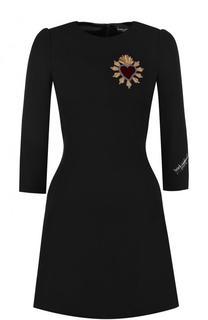 Шерстяное приталенное мини-платье с укороченным рукавом Dolce & Gabbana