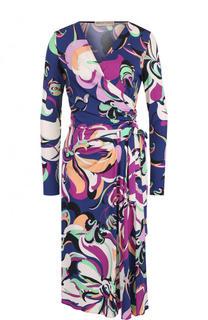 Платье-миди с запахом и принтом Emilio Pucci