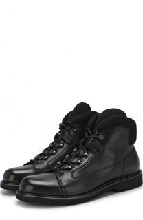 Высокие кожаные ботинки на шнуровке с молнией Ermenegildo Zegna