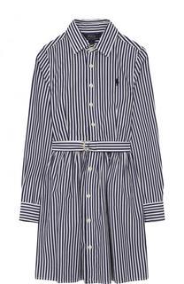 Хлопковое платье в полоску с поясом Polo Ralph Lauren