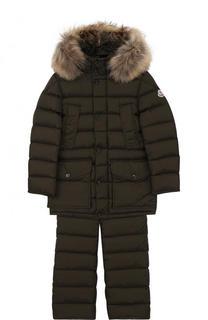 Пуховый комплект из куртки с капюшоном и комбинезона Moncler Enfant