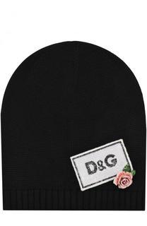 Шерстяная шапка с пайетками и декором Dolce & Gabbana