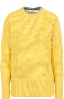 Шерстяной пуловер фактурной вязки с круглым вырезом Victoria by Victoria Beckham
