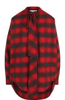Блуза свободного кроя в клетку с воротником аскот Balenciaga