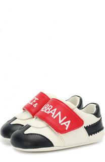 Кожаные пинетки с контрастной отделкой и застежками велькро Dolce & Gabbana