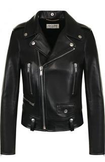 Приталенная кожаная куртка с косой молнией Saint Laurent