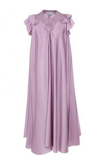 Шелковое платье свободного кроя с оборками Balenciaga