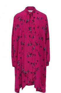 Шелковое платье свободного кроя с принтом и воротником аскот Balenciaga