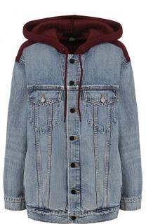 Джинсовая куртка с потертостями и капюшоном Denim X Alexander Wang