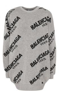 Шерстяной пуловер с логотипом бренда Balenciaga