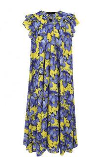 Платье свободного кроя с принтом и оборками Balenciaga