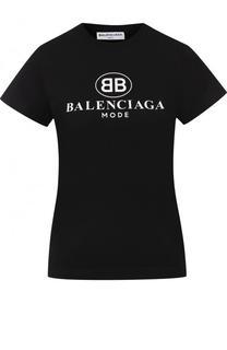 Хлопковая футболка с логотипом бренда Balenciaga