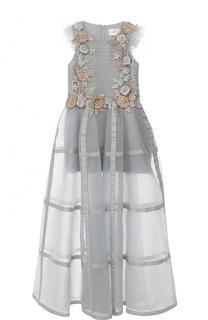 Платье-макси с декором и прозрачной юбкой Mischka Aoki
