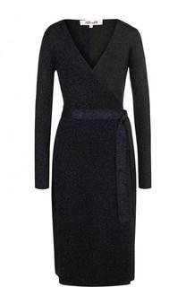 Вязаное платье с запахом и металлизированной нитью Diane Von Furstenberg
