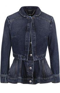 Приталенная джинсовая куртка с потертостями и баской Alexander McQueen