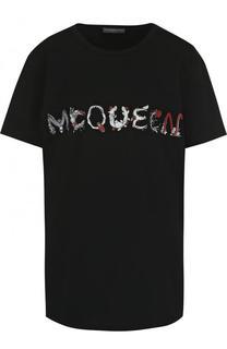 Хлопковая футболка с круглым вырезом и логотипом бренда Alexander McQueen