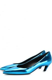 Туфли Slash из металлизированной кожи на каблуке kitten heel Balenciaga