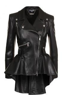 Приталенная кожаная куртка с удлиненной спинкой Alexander McQueen